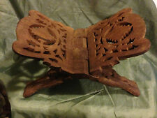 Vtg Hand Carved Wood Book Holder Bible Stand Folding Recipe Stand