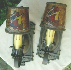 Pair Antique Craftsman Era Cast Iron Wall Sconces Mica Shades with Painted Ships