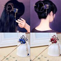 Fashion Women's Vintage Elegant Peacock Bobby Pin Hairpin Rhinestone Hair Stick