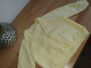 HAND KNITTED/BABY CARDIGAN 3-6 MONTHS  - LEMON - CLASSIC