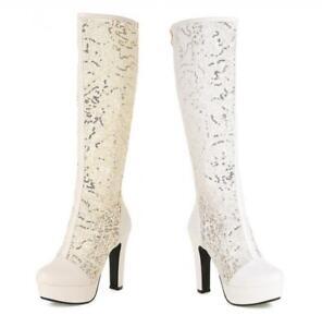 Women's Round Toe Gothic Knee High Riding Boots Western Cowboy High Heel Punk D