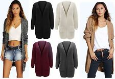 New Ladies Womens Knitted Long Cardigan With Pockets Jumper Top Size 8-14