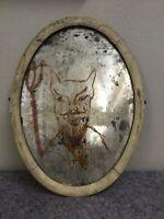 Halloween Folk Art Mirror-Antique Mirror-Painted Devil-Haunted House-Prop