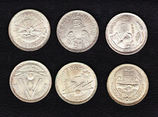EGYPT LOT 6x1 Pound Silver Coins, SLIGHTLY TONED!!!