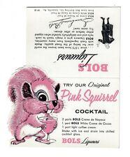 Pink Squirrel Recipe Table Tent Nos Un-Used Bols Liqueurs circa 1960s