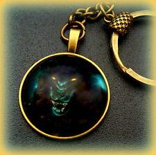 Mystical Wolf Head Keychain Jewelry - Glass Cabochon - Mystical Dark Wolf