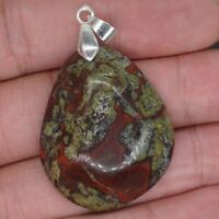 1.4 Inch Natural Dragon Blood Stone Crystal Healing Chakra Pendant For Necklace