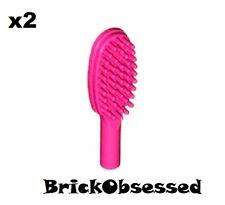 LEGO *Lot x2* NEW Minifig Dark Pink HAIR BRUSH City Friends Bathroom Accessory