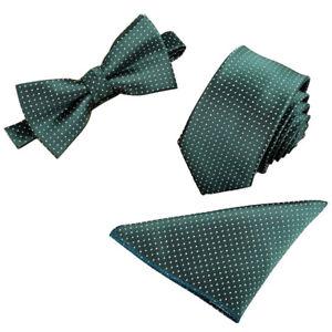 Men's Tuxedo Jacquard Woven Necktie Bow Tie Handkerchief Party Pocket Square Set