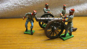 Vintage 1995 - 1996 Painted Metal Britains Rebel ACW Cannon Crew & Metal Cannon