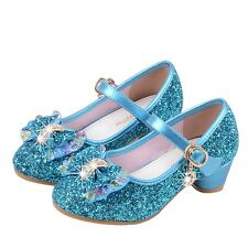 Girls Princess Dancing Shoes Kids Sequins Sandals Mid Heels Dress Shoes New