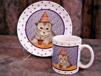 Vintage Herrero Birthday Plate & Matching Mug Gray Striped Cat Japan 1989