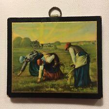 Mini Wood Plaque THE GLEANERS Jean Millet Farm Harvest Women Sunrise 3 1/2 x 3