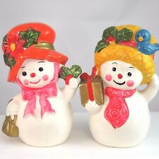 Napco X 8829 Snow Ladies with bonnets salt pepper shakers Christmas holiday