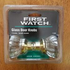 First Watch Glass Door 2 Knobs Spindle Set Polished Brass New Sealed Pkg 1140