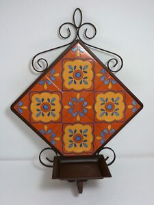 PARTYLITE MOROCCAN STYLE TILE & METAL WALL SHELF