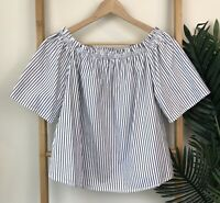 Forever New Striped Off The Shoulder Top Size 6 Short Sleeve Gathered Cotton