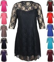 New Womens Lace Lined Party Dress Plus Size 3/4 Sleeve Floral Shift Dress 14-28
