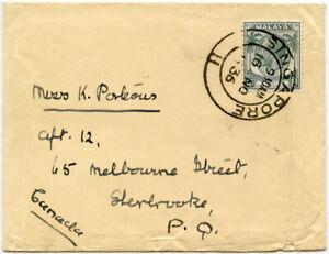 MALAYA STRAITS SETTLEMENTS KG5 8c SINGLE FRANKING 1936 SINGAPORE to QUEBEC