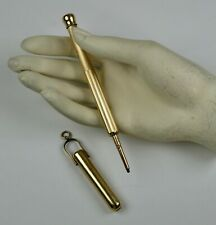 Antique Gold Mechanical Pencil in Hanging Case Telescopic    RARE EPEN1004
