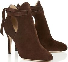 JIMMY CHOO 'Marina' Pecan Brown Suede Ankle Boots Heels Size UK 7 Eu 40