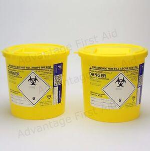 Yellow Sharps Insulin Syringe, Needle, Blade & Clinical Waste Bin. 2.5L Qty 2