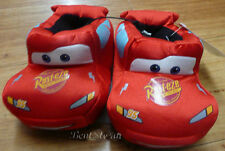 DISNEY Pixar CARS SLIPPERS Lightning McQueen RED Race CAR slick fabric 5/6 NWT