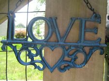 From The Heart Hanging LOVE Art Plaque Worn Metal Display Sign Chain Link Hanger