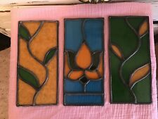 Beautiful Vintage Stained Glass Pains Lot of 3 Lotus Flower and Vines