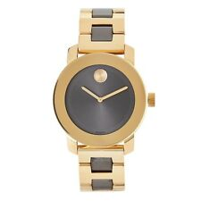 Movado 3600338 Bold Two Tone Gold Gray Dial Stainless Steel Swiss 36MM NEW