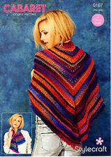 Stylecraft 9187 Knitting Pattern Cabaret DK- Scarf and Shawl