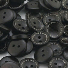35PCS 16L Black Round Shape 2 Holes Wooden Pattern Wood Sewing Buttons