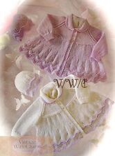 Vintage Knitting Pattern Baby's 'Lilac' Matinee Coat & Hat. 5 Sizes. FREE UK P&P