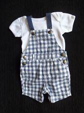 Baby clothes BOY 0-3m outfit short summer cotton blue check dungarees/bodysuit