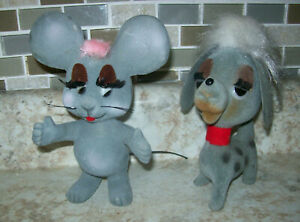 2 Vintage  Regd Designs Dog and Mouse  Flocked Felt Fur  Hong Kong 5""