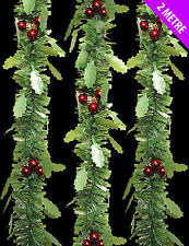 3 x lovely Green Holly Tinsel & Red Berries Christmas Tinsel - 2 metre length