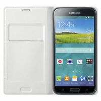 Genuine Official Samsung Galaxy S5 Flip Wallet Cover Case White EF-WG900BWEGWW