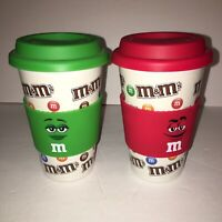 Set (2) M&M Candy Ceramic 16oz Travel Mugs Tumbler Coffee Cup Silicone Lid 2016