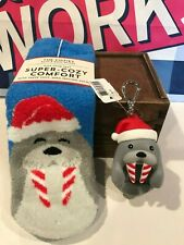 Bath & Body Works Holiday Santa Walrus Pocketbac Holder & Shea Infused Socks X2