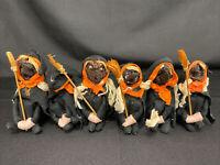 Vintage Halloween 6 Witches Dried Apple Head Dolls Knee Hugger W/Broom CREEPY!