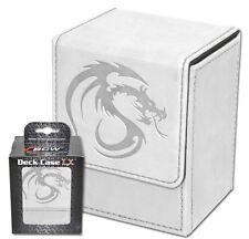 White Leatherette Deck Box MTG Protectors  Magnetic Closure 80 Card Storage