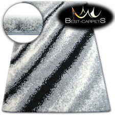 BEAUTIFUL VERY SOFT SHAGGY RUGS 'ZENA' grey black white FLUFFY CHEAP CARPETS