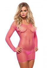 Mini Netz Kleid mit G-String- Pink -Sexy -Gr. XS - M -Party -Club- Gogo- Langarm