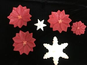 Set of 6 Pier One 1 Floating Wax Paraffin Real Candles 4 Poinsettia 2 Snowflakes