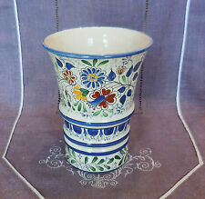 ANCIEN VASE EN FAIENCE A DECOR FLORAL A IDENTIFIER