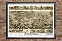 Vintage Birmingham, AL Map 1885 - Historic Alabama Art Old Victorian Industrial
