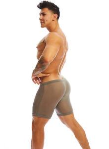 N2N Bodywear Men Grey Sheer lounge Jammer biker shorts  size M L XL