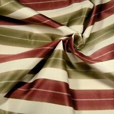 "Home Decor Fabric, Bold Stripe in Garnet, Olive Green & Cream, 17"" by 56"""