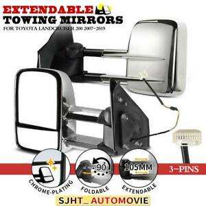 2x Chrome Electric Extendable Towing Mirrors for Toyota Land Cruiser 200 07-19
