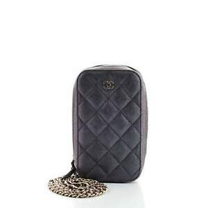 Chanel Zip Around Phone Case with Chain Quilted Iridescent Caviar